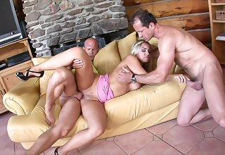 Double teamed slut takes it in the cunt and ass