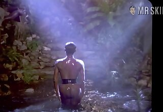 Glamorous celebrity Grace Jones flaunting the brush comely nude Negro body