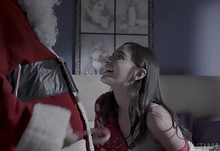 Cute teen is on Santa's nice words increased by she deserves some good dicking