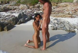 Charming girlfriend Eva Roberts gets fucked in along to ass on a beach