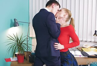 Office babe enjoys first time hard shag at work with the brass hats