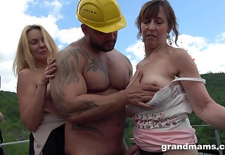 Deep coition with uncover matures in full outdoor orgy