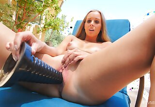 Alluring wife tries her new toy dong in a gorgeous sunny solo