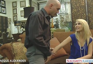 Taking cock deep into will not hear of shaved pussy blonde Monique Alexander rubs clit