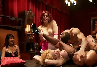 Bound blonds fucked by guest at bunch