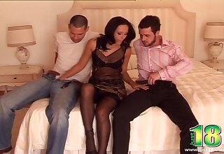 Homemade MMF threesome with gorgeous escort Sonia Red in lingerie