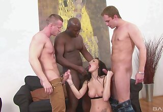 Black hunk shares bitch with two more white dudes