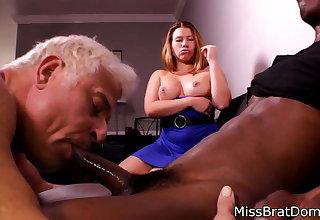 Bisexual Husband Sucks Black Cock for Femdom Wife