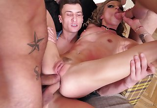 Angel Emily got talked into fucking with more guys at once