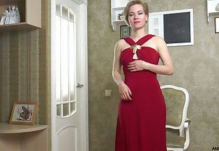 Delicious milf in white-hot dress Lisa Young gets naked and masturbates twat