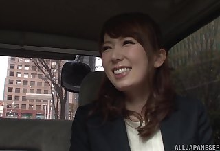 Japanese businesswoman Hatano Yui fingered in a car sooner a be wearing