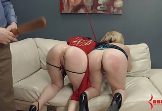 One kinky pervert in mask fucks plump nuisance of two tied up and suspended chicks