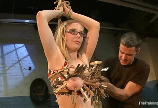 Subbie with big natural tits learns about pussy caning and clothespin torture