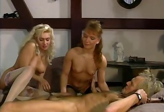 Old guy getting double the pussy - Julia Reaves