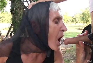 Outside sex and a blowjob are amazing with horny and old grown-up Kata