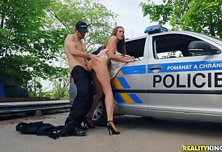 Euro floosie gets fucked by a difficulty cop and made to swallow