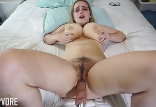 Huge-Boobed platinum-blonde girl, Codi Vore is opening up her gams broad open to the fullest extent a finally using a fuckin' machine