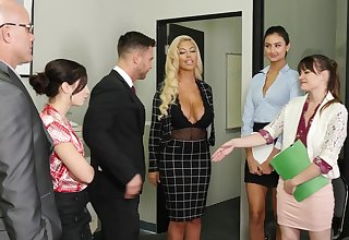 Lovely office cutie Alison Rey greets the brush BF with awesome blowjob