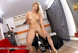 Slutty blonde amateur girl plays with her titties dimension riding a fuck machine