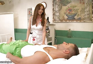 Posh pains in uniform added to stockings Alice Romain gives a blowjob added to gets her anus fucked