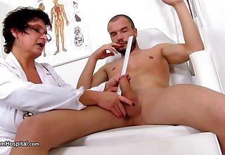 Mature nurse Jessica exams his huge cock