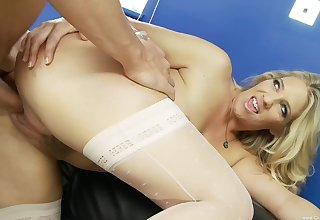 Blonde wife wants a piece of will not hear of boss's extended dong