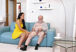 Young busty nurse Jennifer Mendez gives a blowjob coupled with titjob to one old man