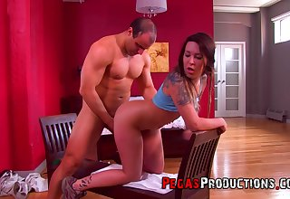 Slutty doll feels muscular man's unstoppable cock fucking her so good