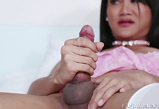 Consumptive shemale Kao gets naked and pleasures her long penis
