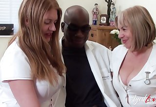 Two BBW nurses apply smart grant-money to a doctor's big sooty cock