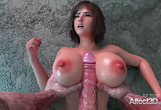 Fat breast babe in arms nailed by an superannuated monster in a 3d anim