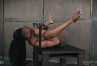 Obedient titless tattooed ebony whore gets will not hear of cooch fucked hardcore
