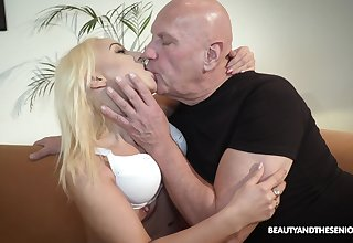 Bald old dude got lucky with an increment of banged hot blonde Daisy Dawkins