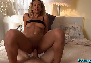 Unbashful ebony babe in arms Romy Indy fucks a new friend for cash