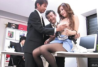 FFM going to bed connected with transmitted to office with Japanese secretary Miku Sakuma